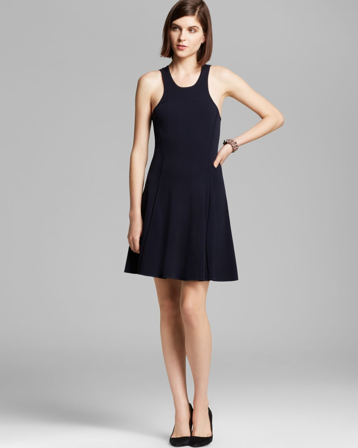 Autumn Cashmere Dress Carved Fit And Flare In Blue Navy