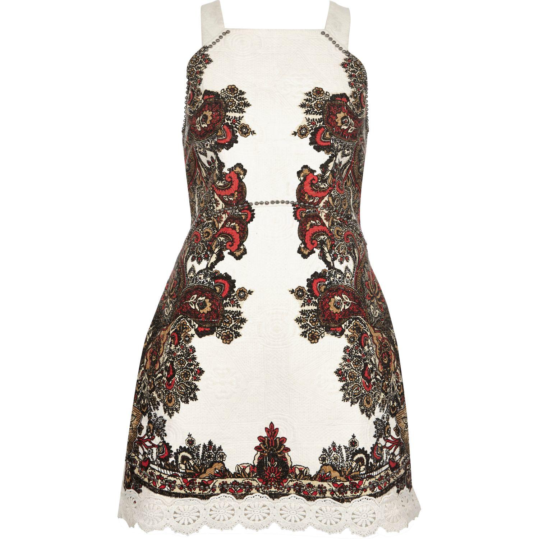 8c3e51c7ebd River Island Cream Floral Print Lace Bodycon Midi Dress - Data ...