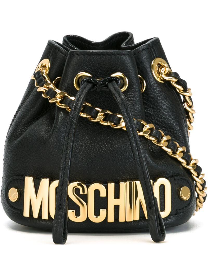 Lyst Moschino Mini Bucket Crossbody Bag In Black