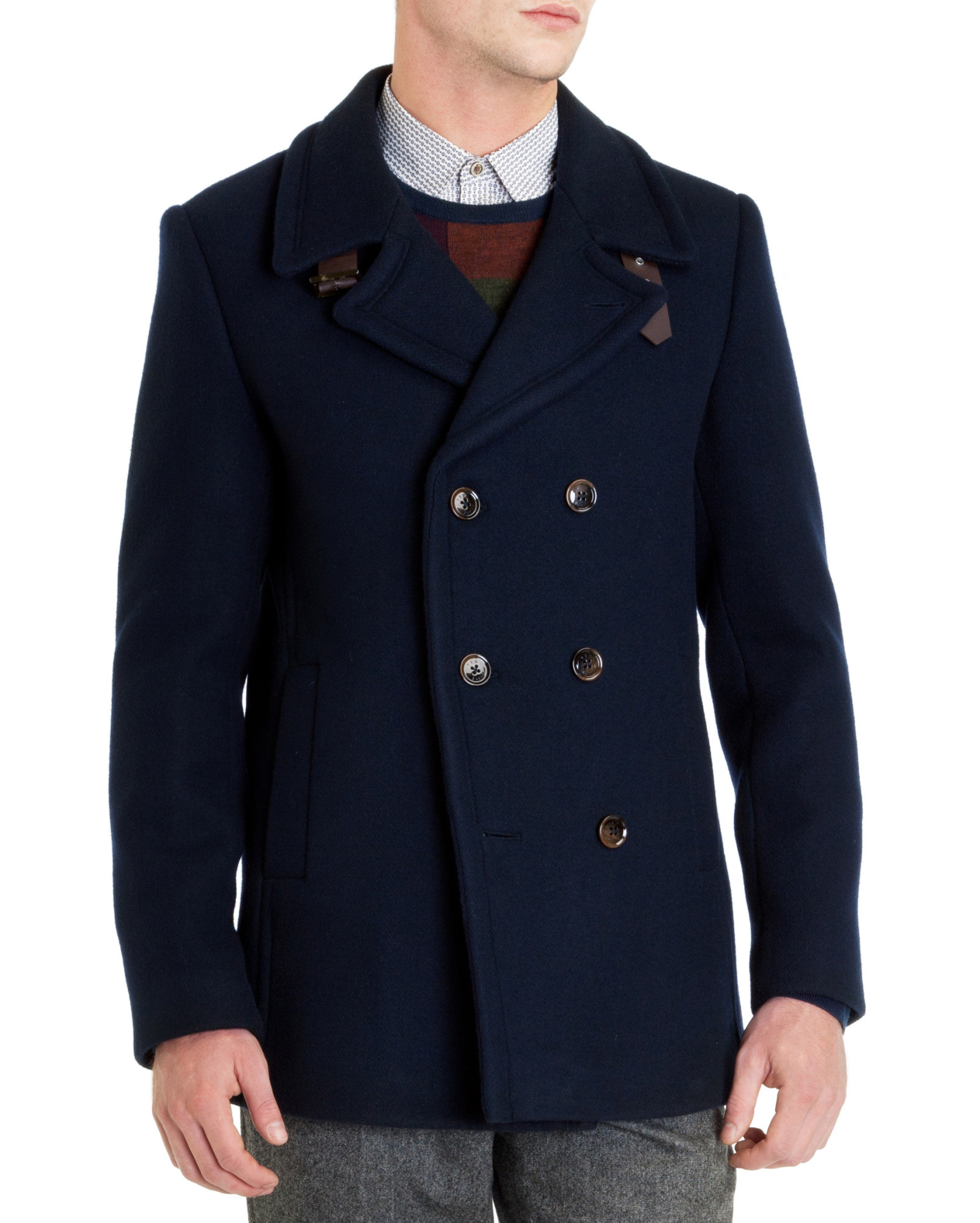 e46bfff6eab734 Ted Baker Nojorah Double Breasted Peacoat in Blue for Men - Lyst