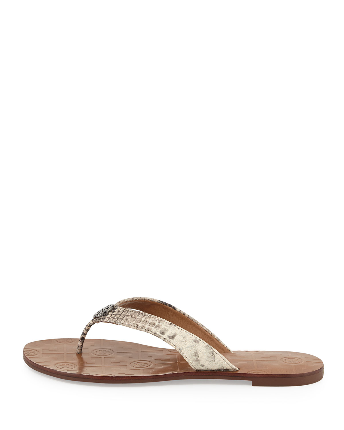 4d05d69480a4c ... Lyst - Tory Burch Thora Snake-print Logo Thong Sandal in Natural super  cute 9edd8 ...