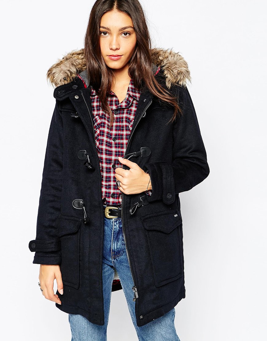 Pepe jeans Holmes Duffle Coat With Faux Fur Hood in Blue | Lyst