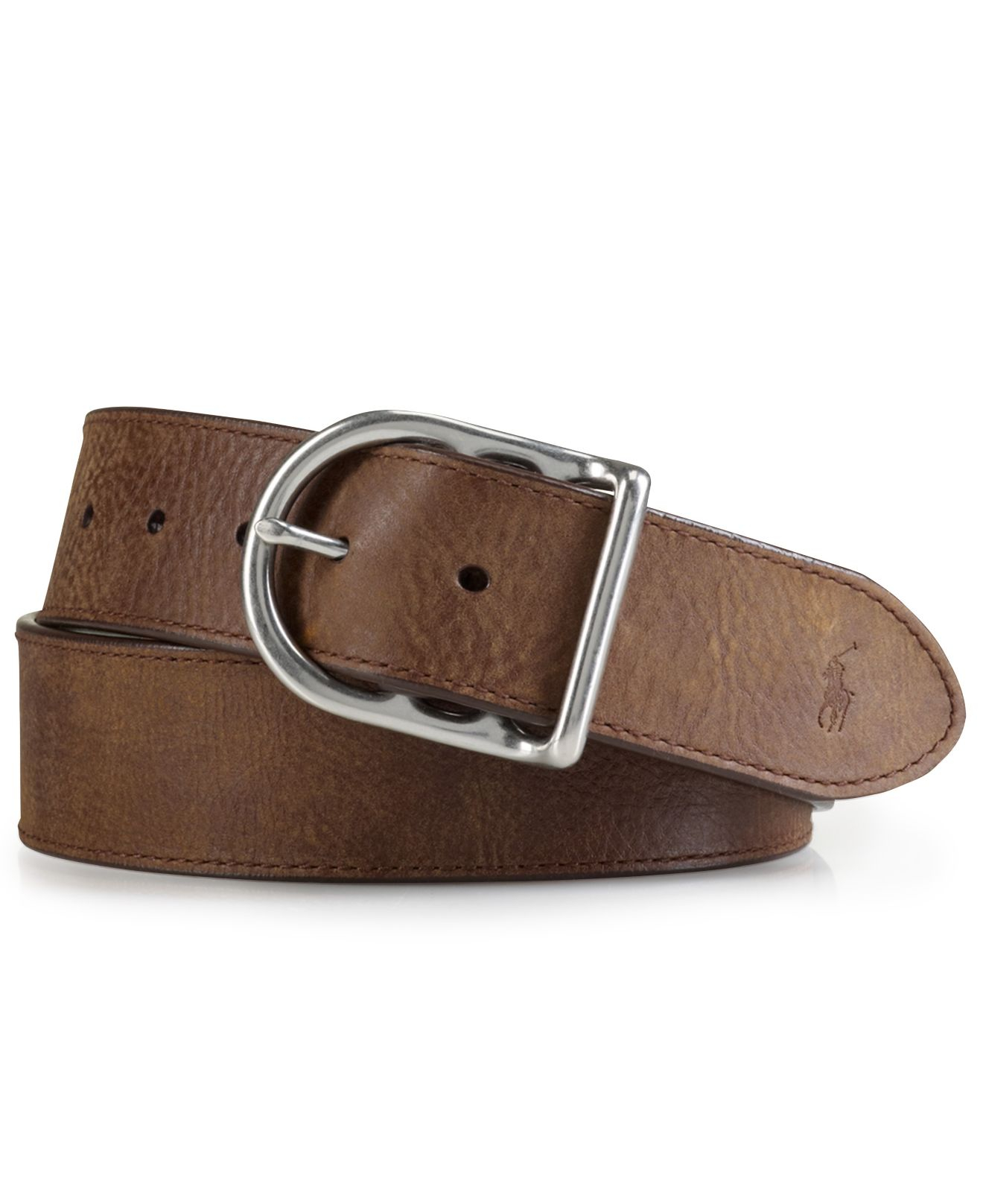 polo ralph distressed leather centerbar buckle belt