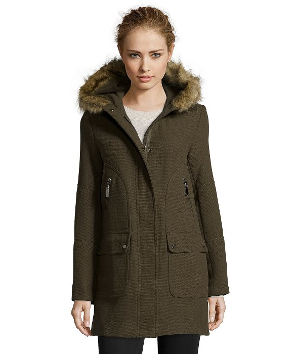Vince camuto Olive Textured Wool Blend Faux Fur Trimmed