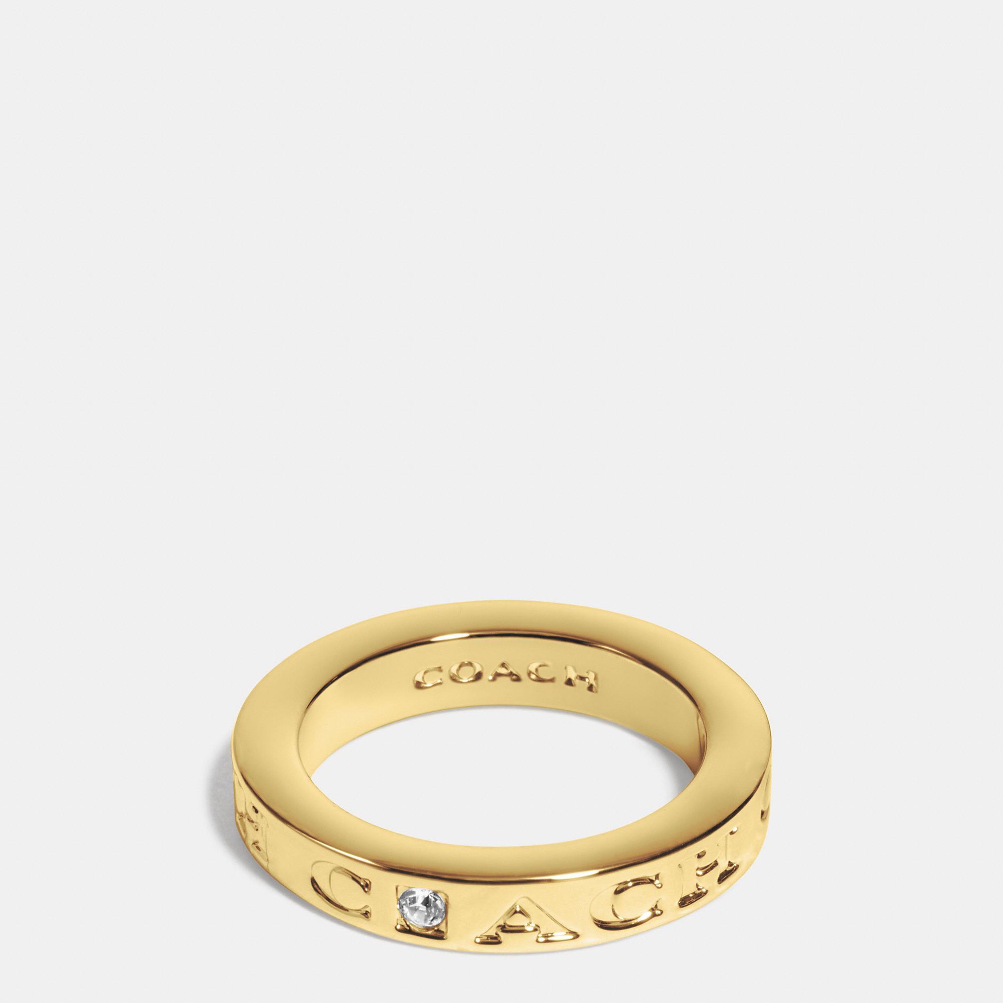 coach pave metal ring in metallic lyst