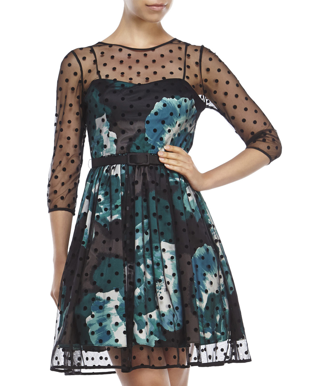 Eliza J Petite Belted Polka Dot Overlay Dress In Black