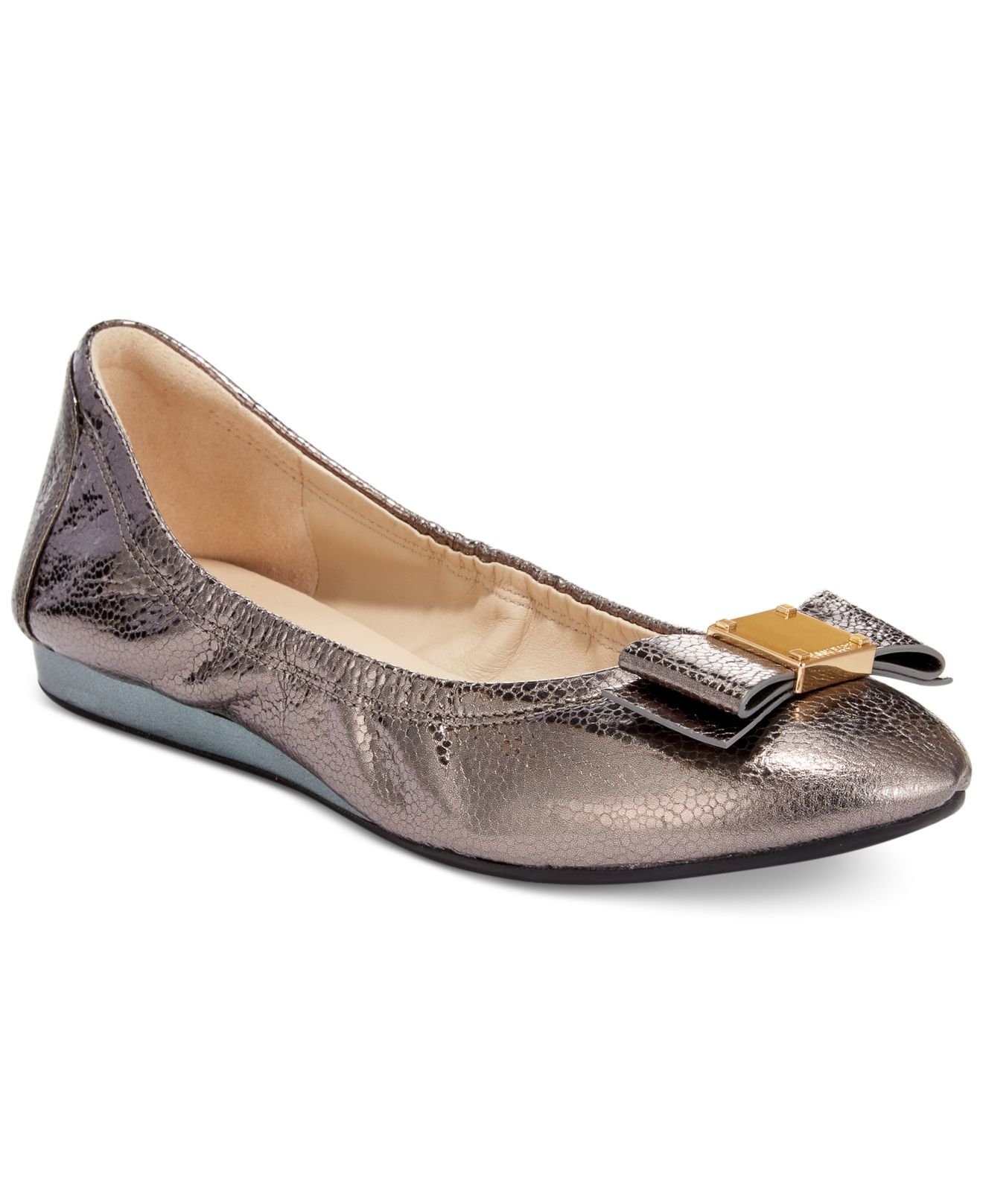 Womens Shoes Cole Haan Tali Bow Ballet Dark Silver Metalic