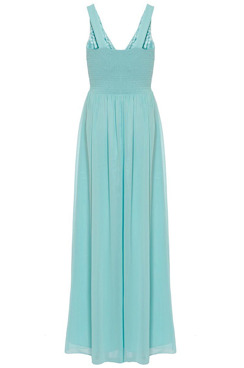 Quiz aqua chiffon maxi dress