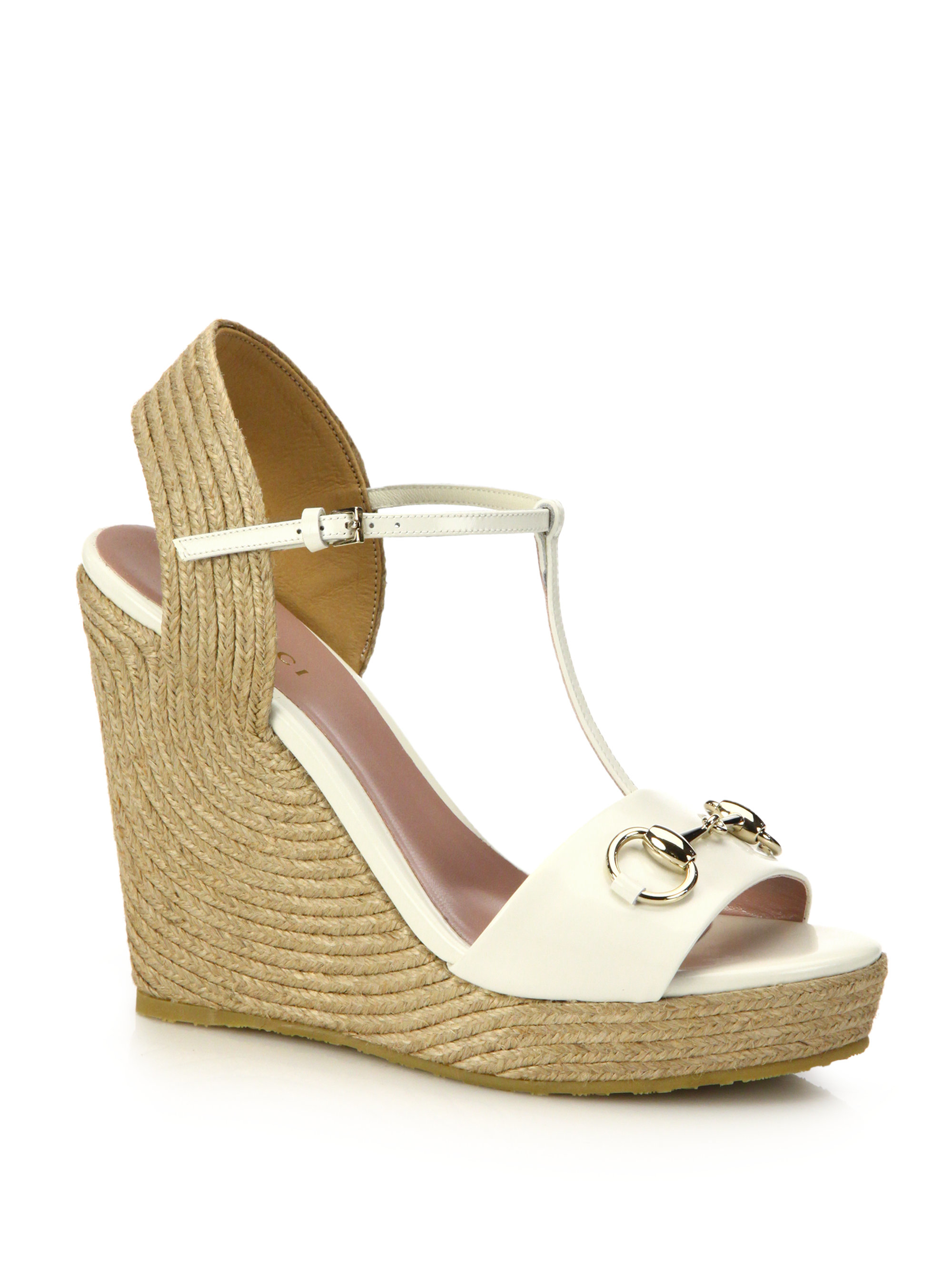 702b287cd4b0 Lyst - Gucci Patent Leather Horsebit Espadrille Wedge Sandals in White