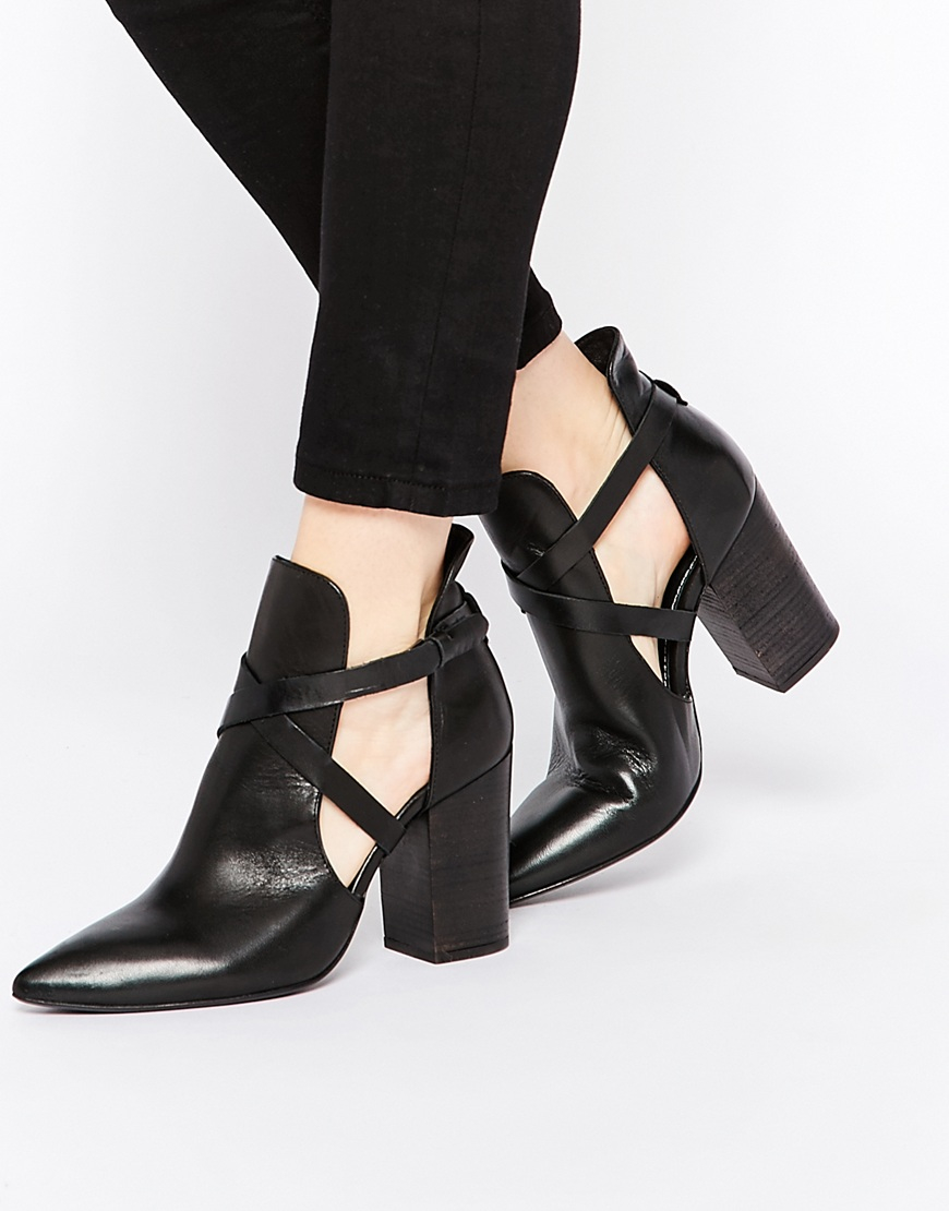 h by hudson geneve black leather cut out heeled ankle