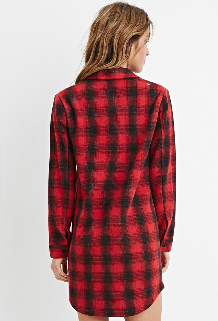Forever 21 Tartan Plaid Flannel Shirt In Red Lyst