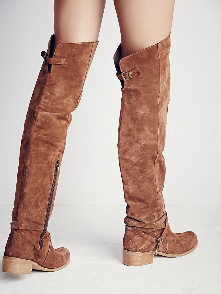 Free people Amorosa Suede Over The Knee Boot in Brown   Lyst