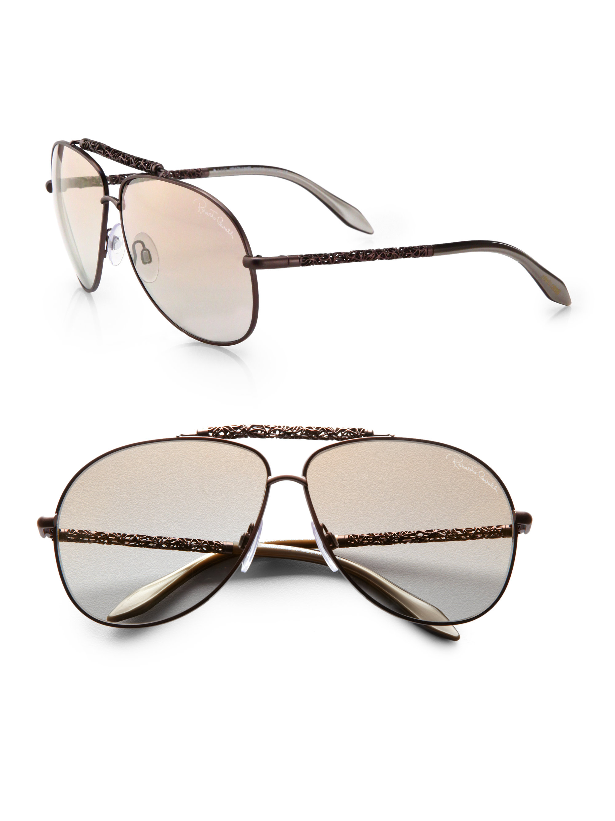 Roberto cavalli Clematis Metal Aviator Sunglasses in ...