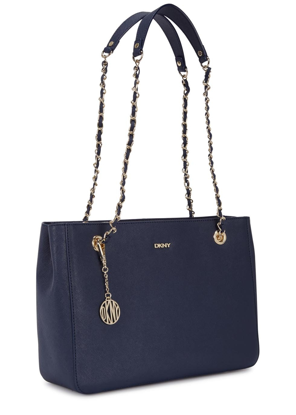 dkny bryant park navy leather tote in black navy lyst. Black Bedroom Furniture Sets. Home Design Ideas