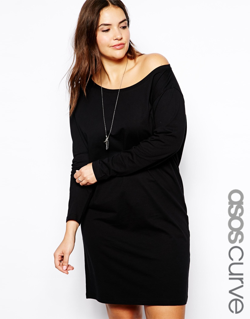 Lyst Asos Exclusive Off Shoulder T Shirt Dress In Black
