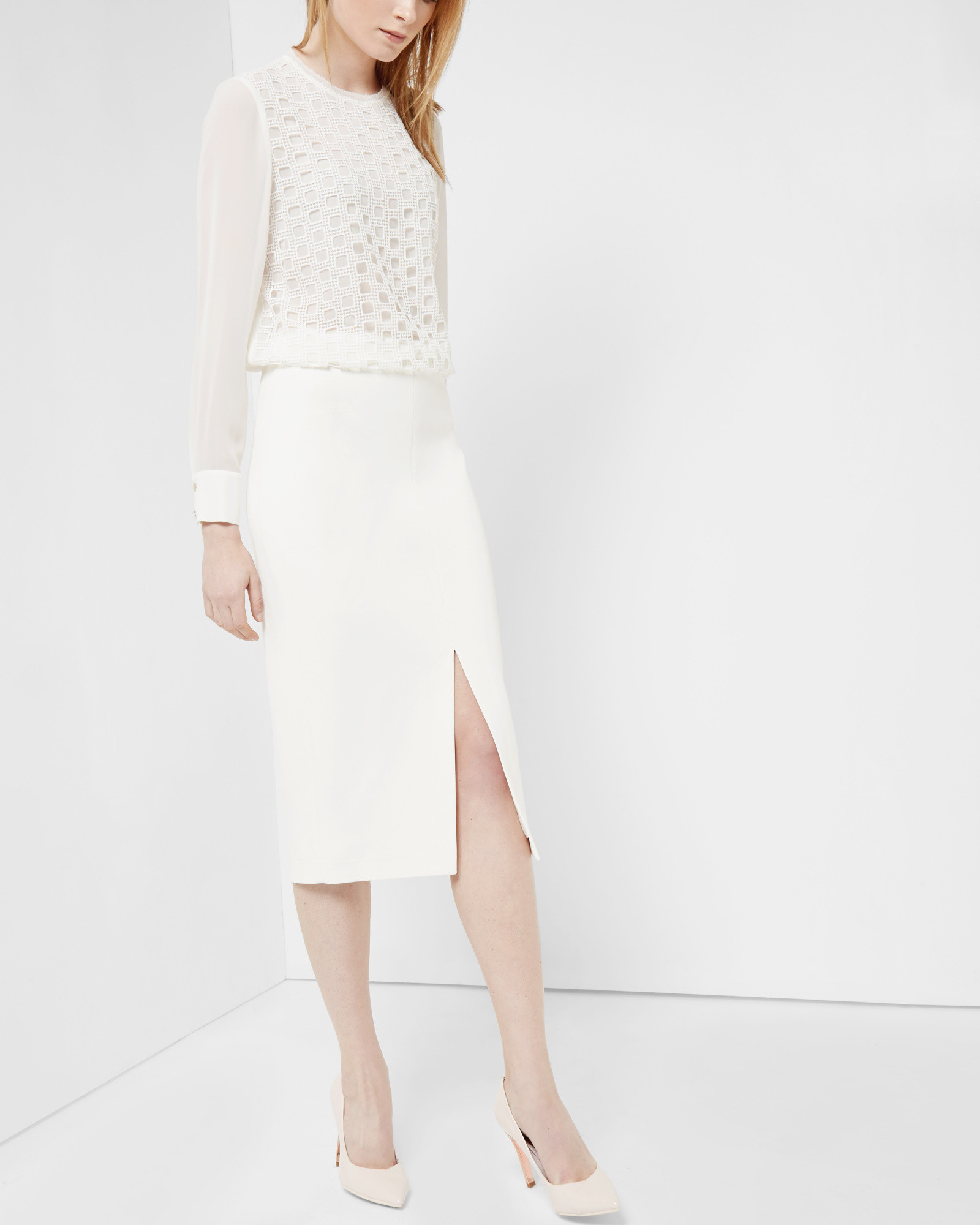 63428b695 Ted Baker High Waisted Pencil Skirt in White - Lyst