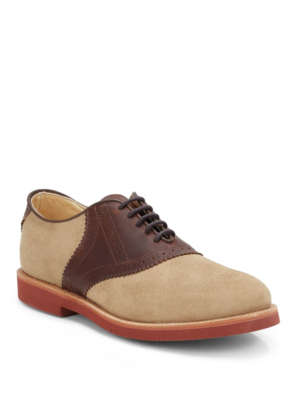 walk suede leather saddle oxford shoes in beige for