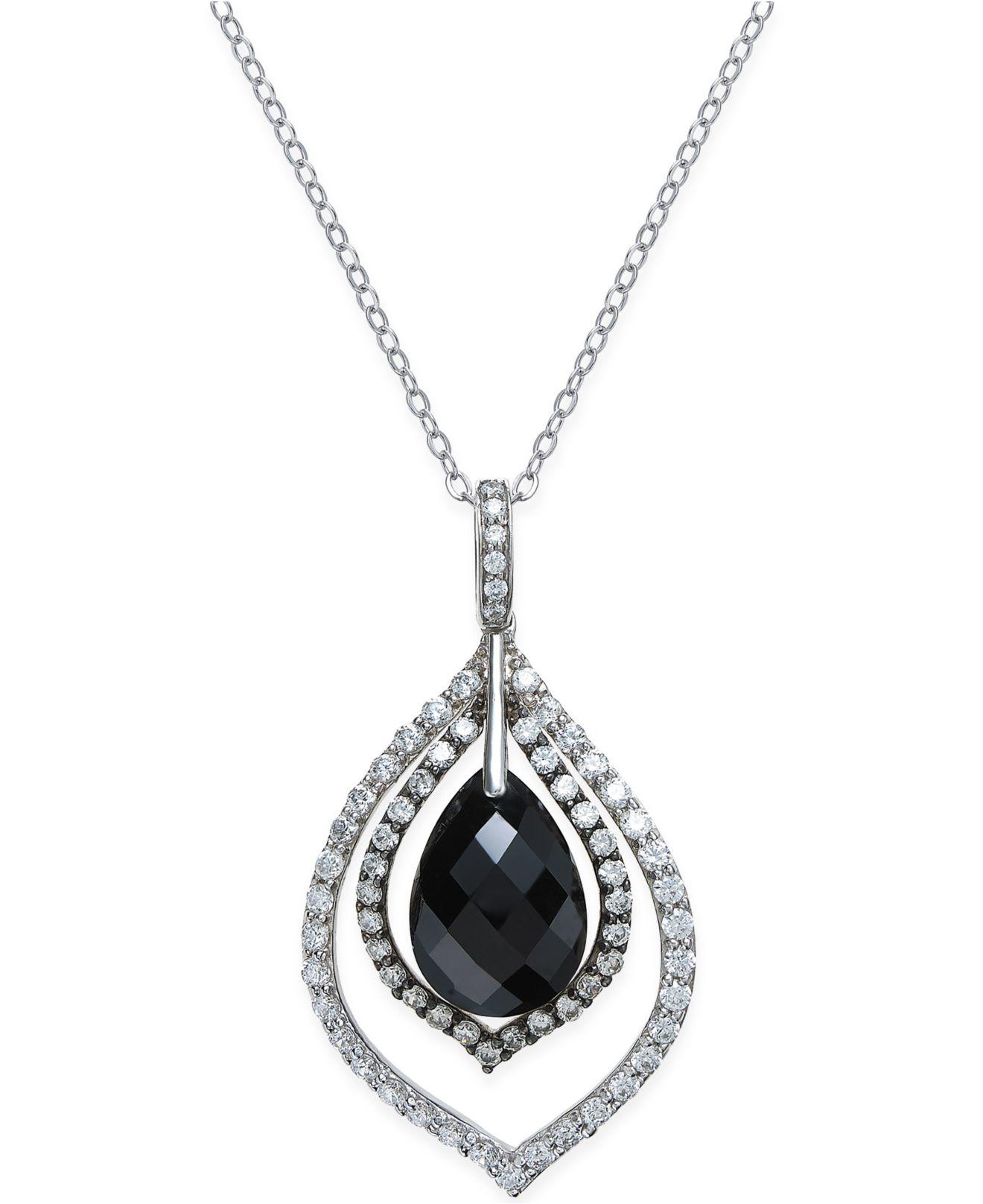 macy s onyx 11x16x6 1 2mm and cubic zirconia pendant