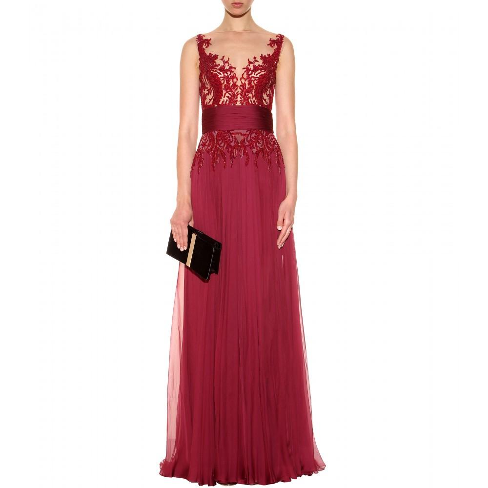 03b2ab6c6b4e Zuhair Murad Sequin Silk Chiffon Dress in Red - Lyst