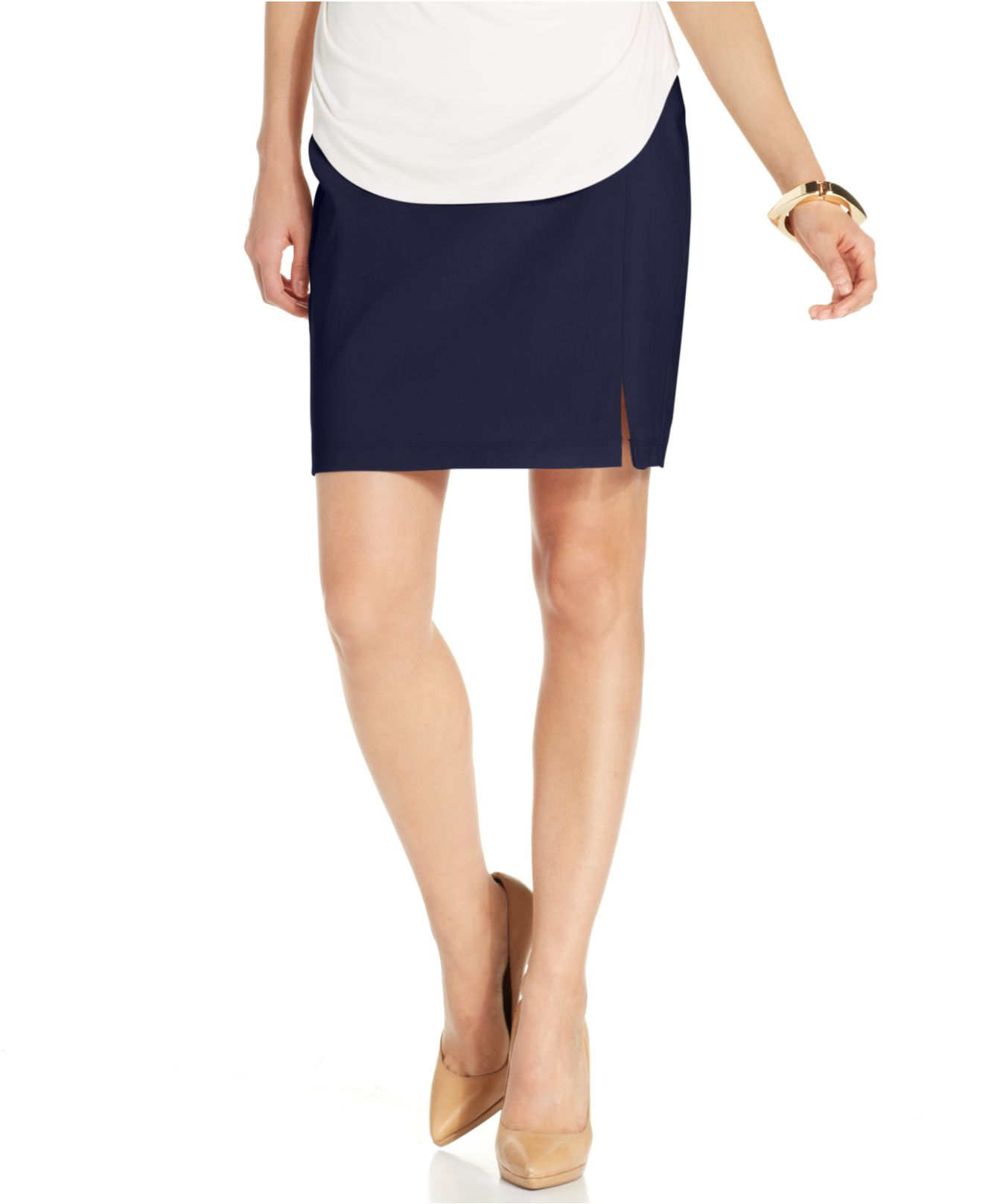 miraclesuit shaping pencil skirt in blue lyst