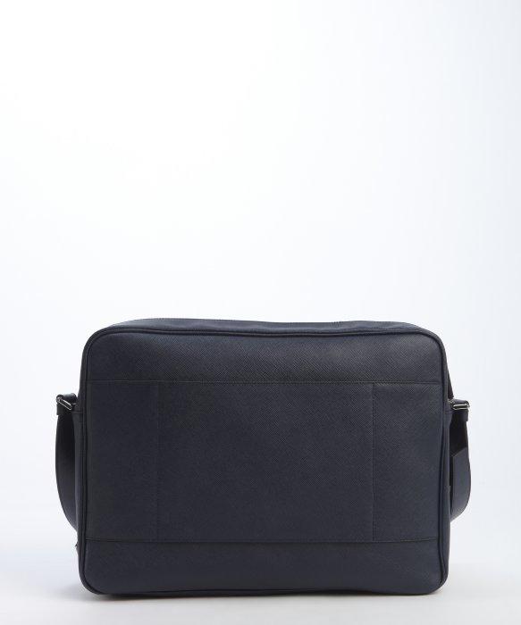 Prada Navy Saffiano Leather Messenger Bag in Blue for Men (navy ...