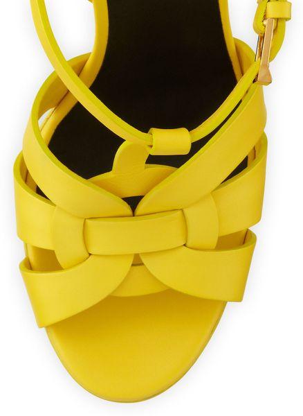 Saint Laurent Womens Tribute High Heel Leather Sandal