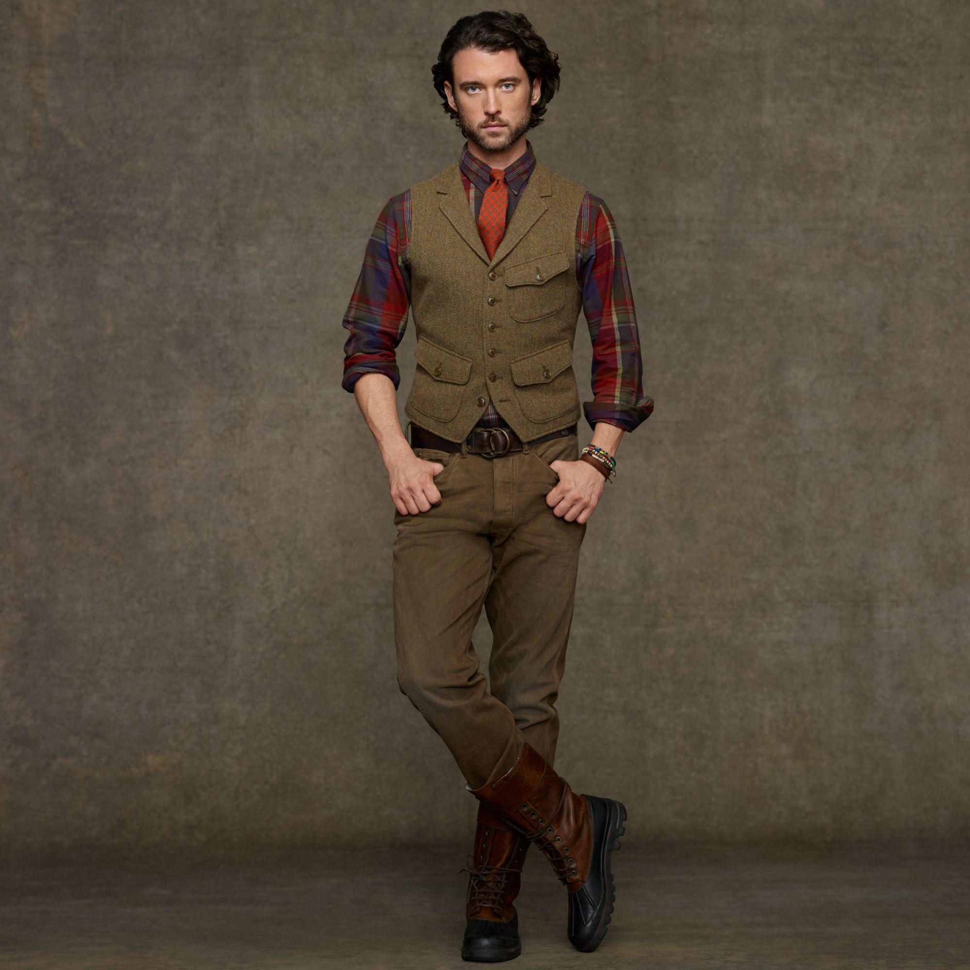 Polo ralph lauren Hillsdale Tweed Vest in Brown for Men