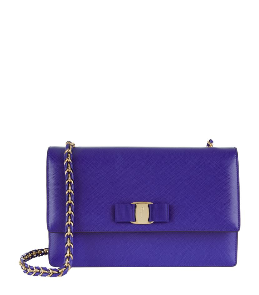 Ferragamo Medium Ginny Shoulder Bag in Blue - Lyst