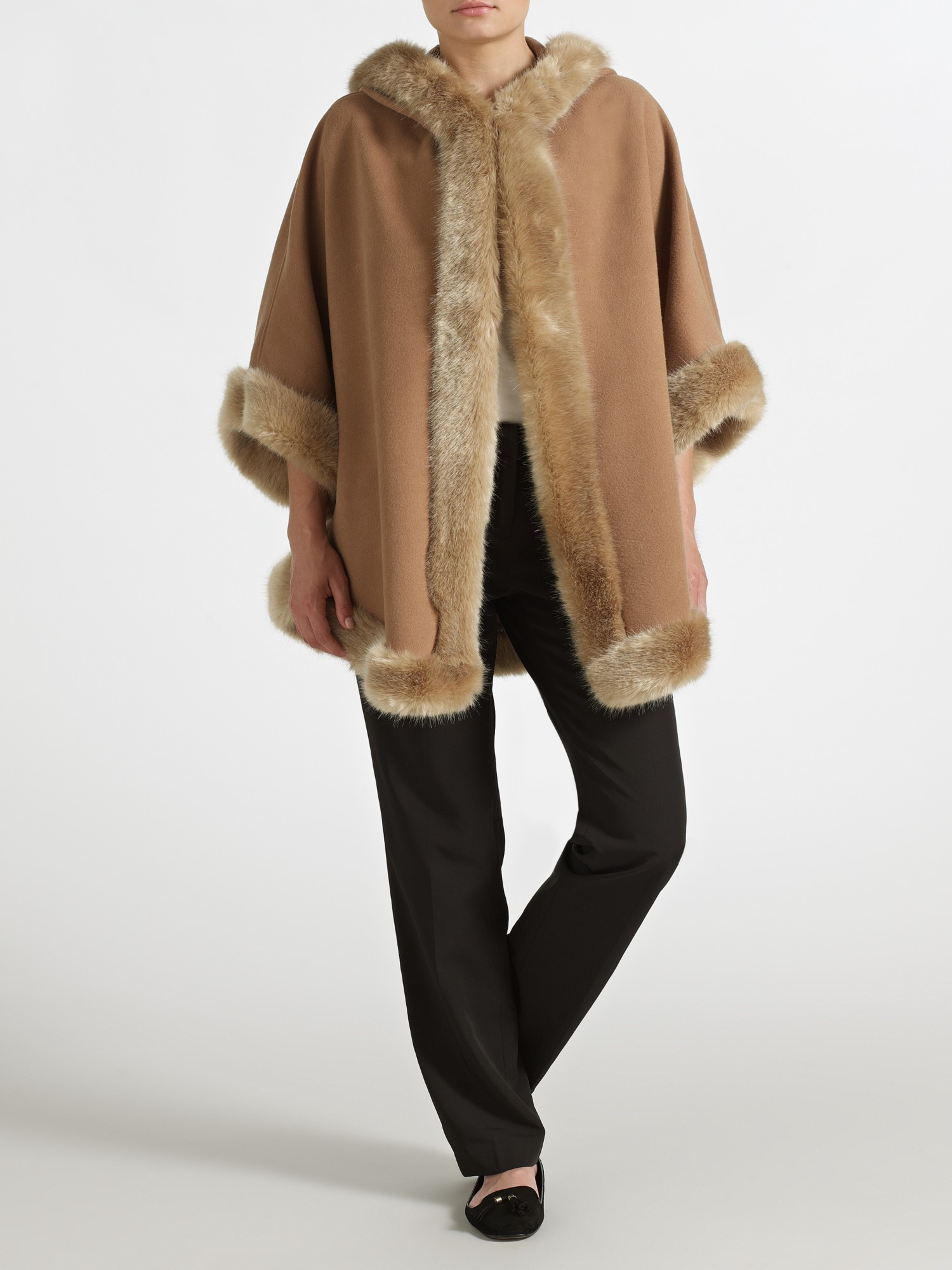 John Lewis Maria Hooded Cape In Camel Brown Lyst