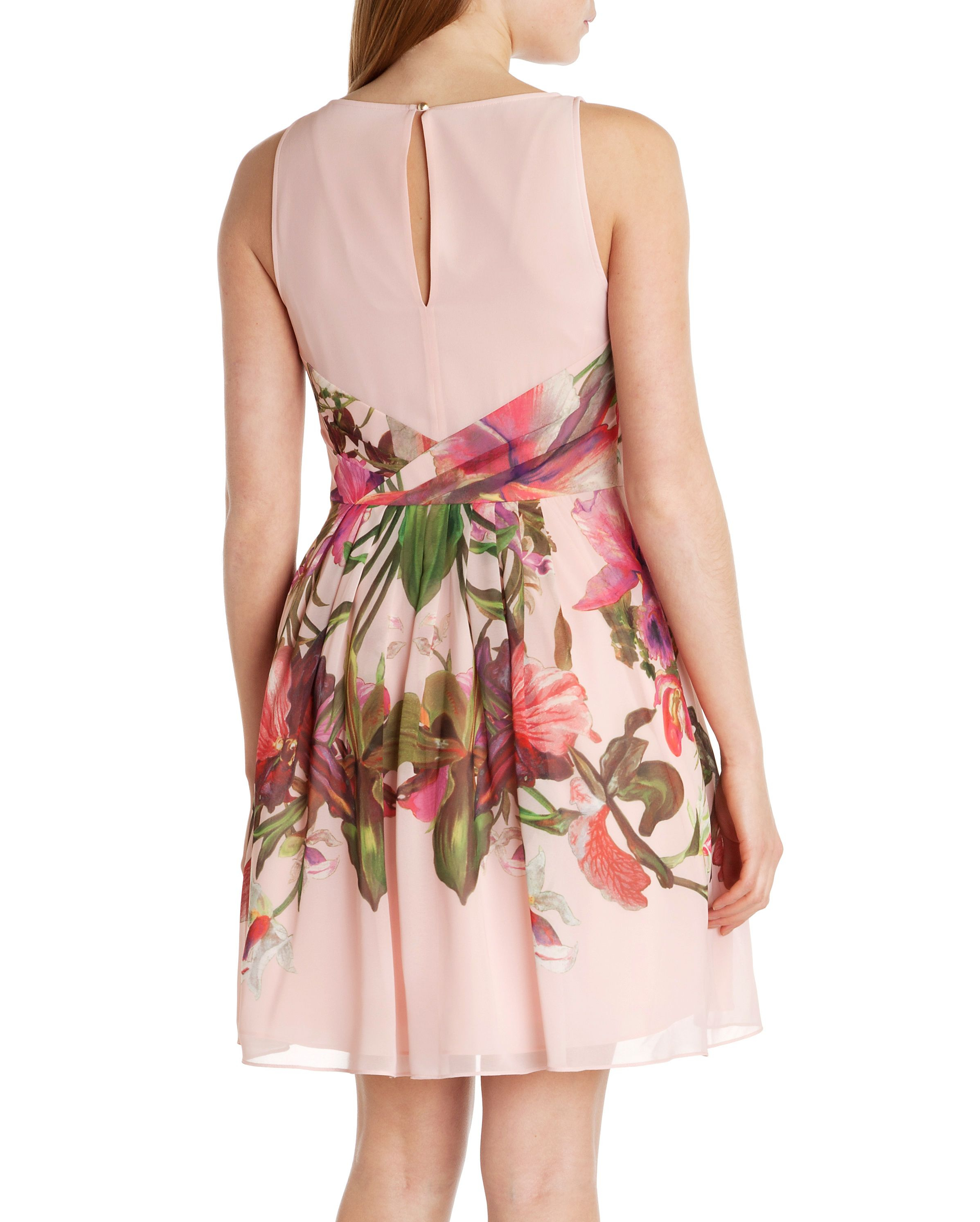 Ted Baker Carlii Symmetrical Orchid Floral Dress In Pink