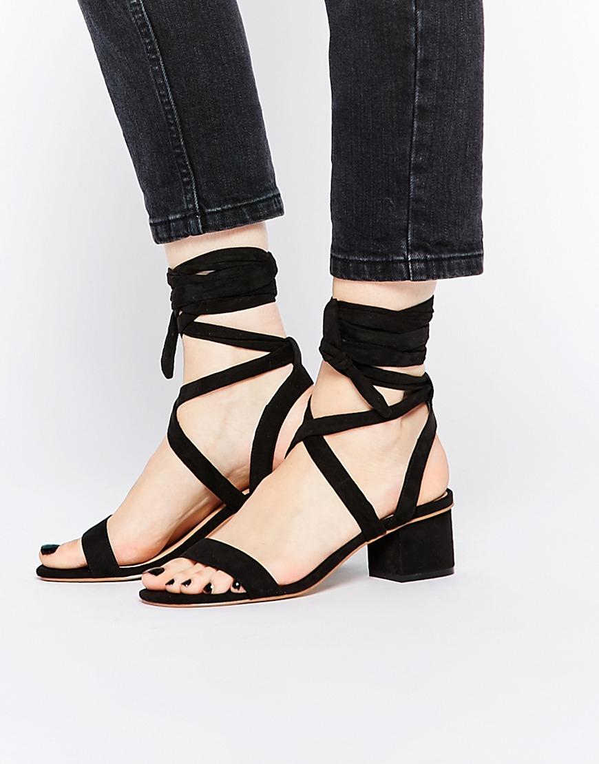 asos tessa lace up heeled sandals in black lyst