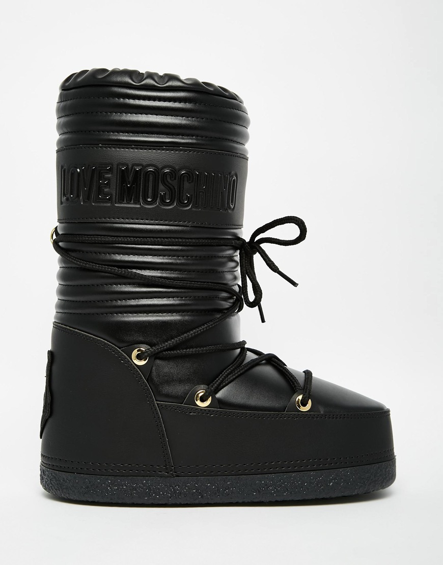 Black Leather Snow Boots