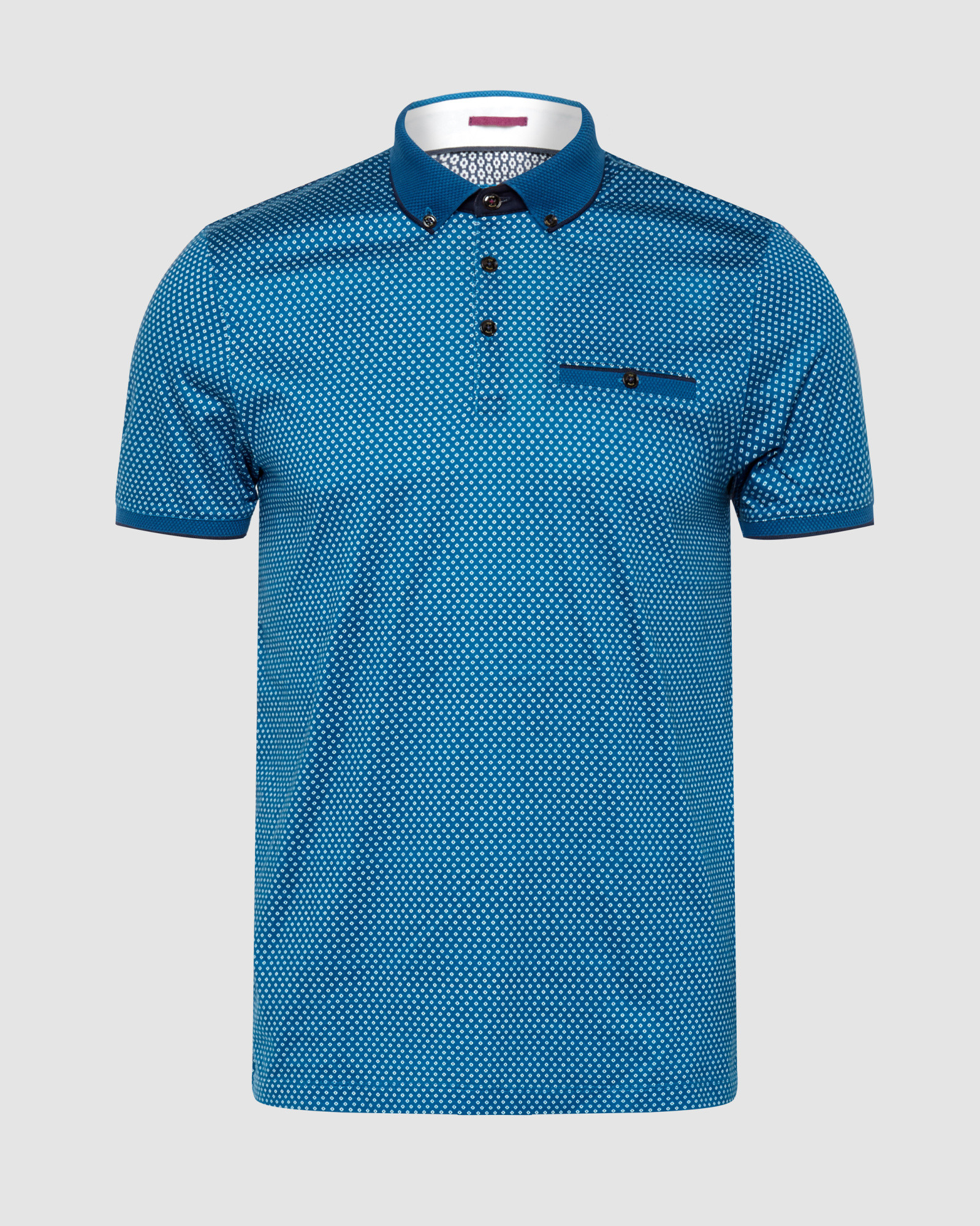 Ted baker geo print polo shirt in blue for men teal lyst for Mens teal polo shirt
