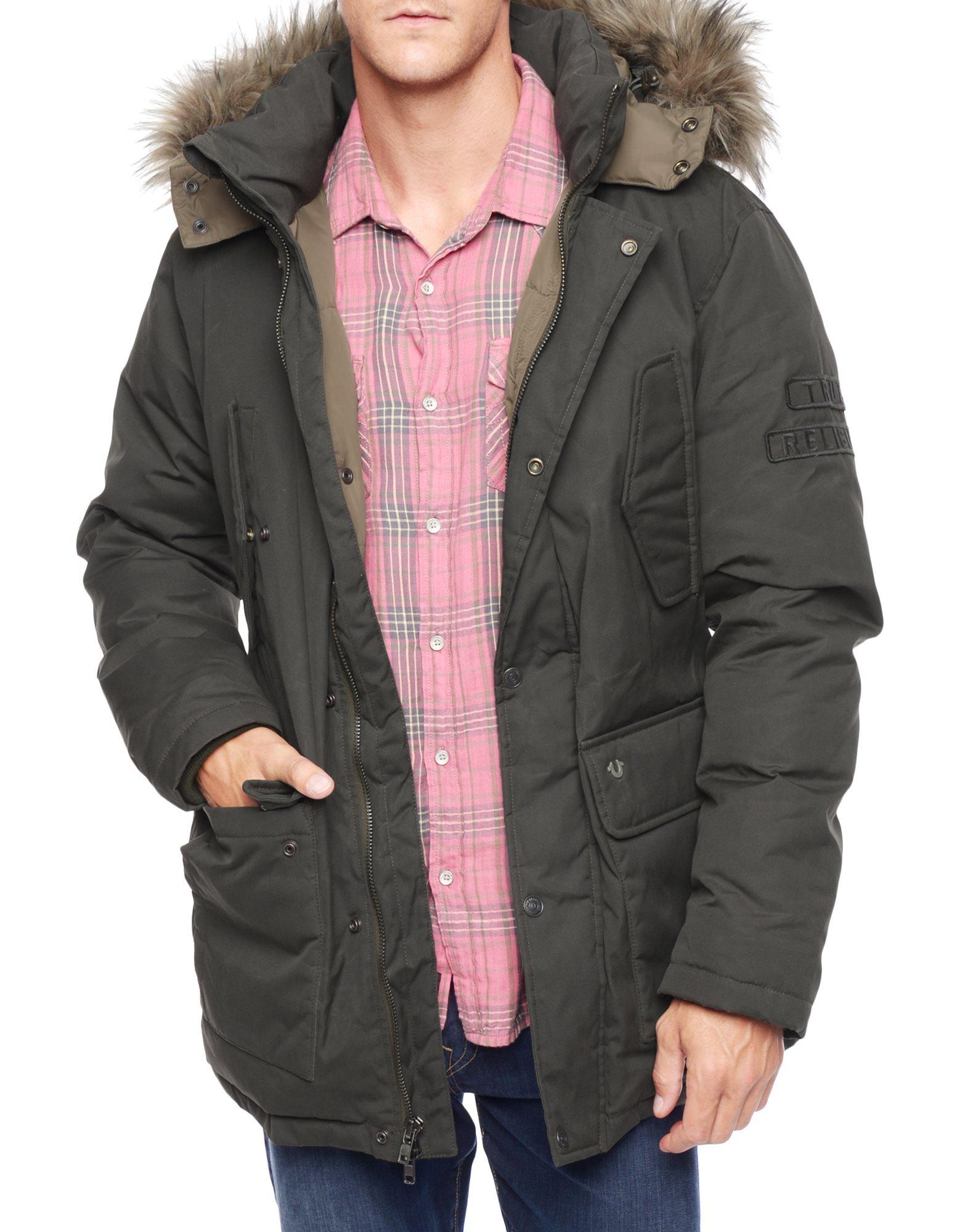 true religion fur hood mens parka jacket in green for men lyst. Black Bedroom Furniture Sets. Home Design Ideas