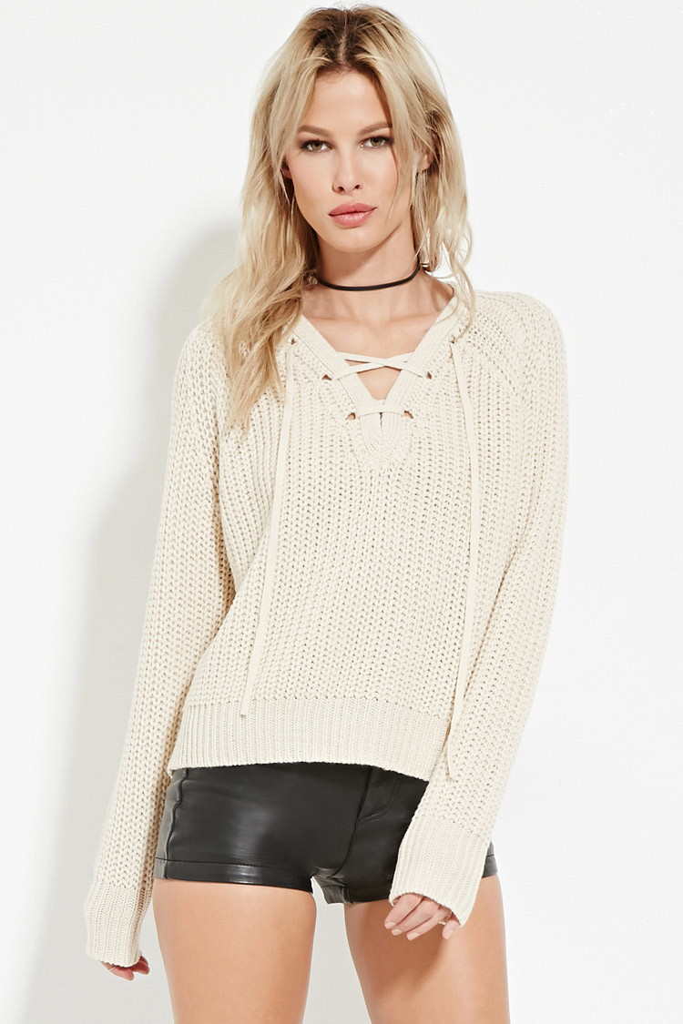 Lyst Forever 21 Lace Up Ribbed Sweater Youve Been Added To The