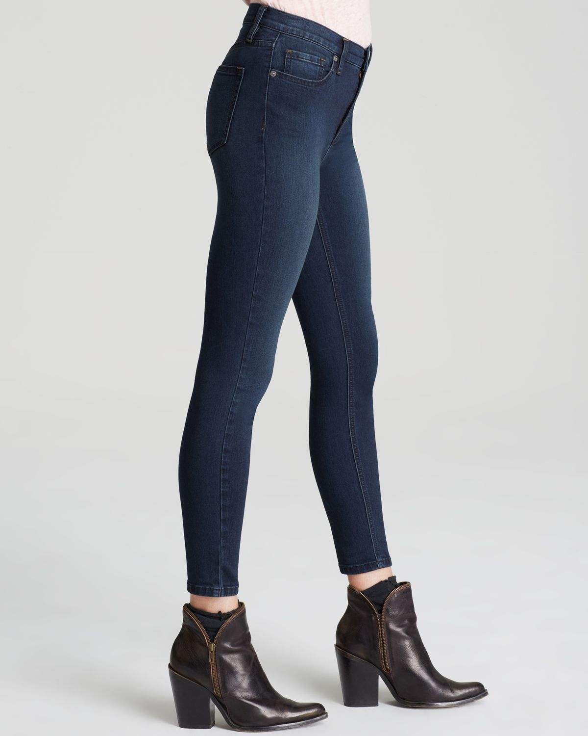 77323f8a7bea Lyst - Free People Jeans - High Rise Roller Crop Skinny In Cane in Blue