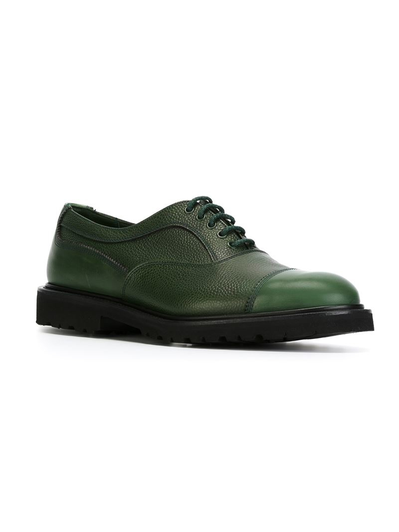 tricker s for antonia lace up shoes in green for lyst