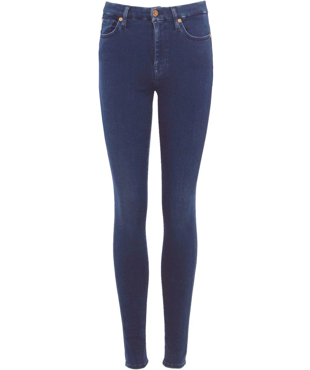 lyst 7 for all mankind super high rise skinny jeans in blue. Black Bedroom Furniture Sets. Home Design Ideas