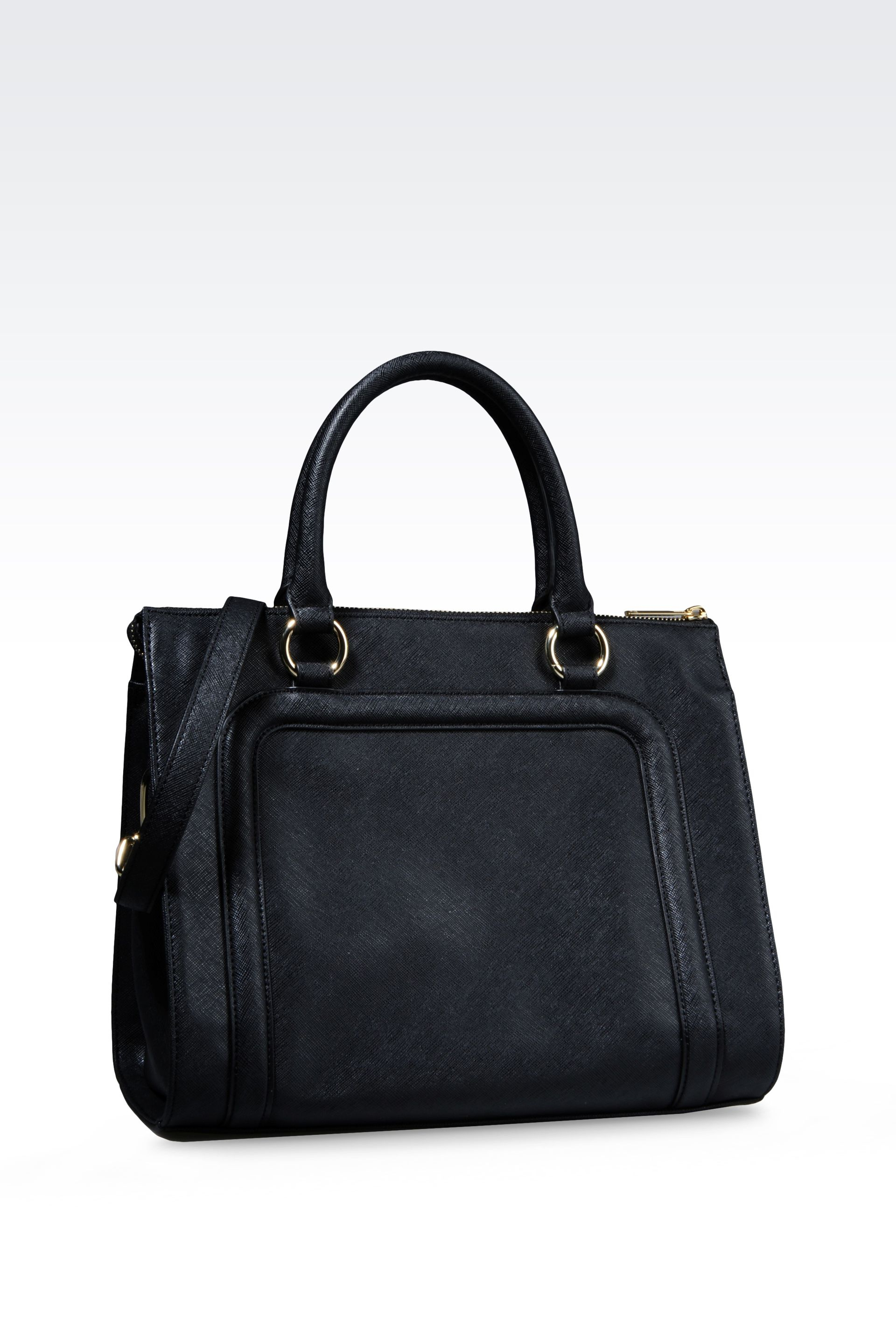 Lyst - Armani Jeans Bauletto Bag in Faux Saffiano with Tassels in Black 7974a6c10e