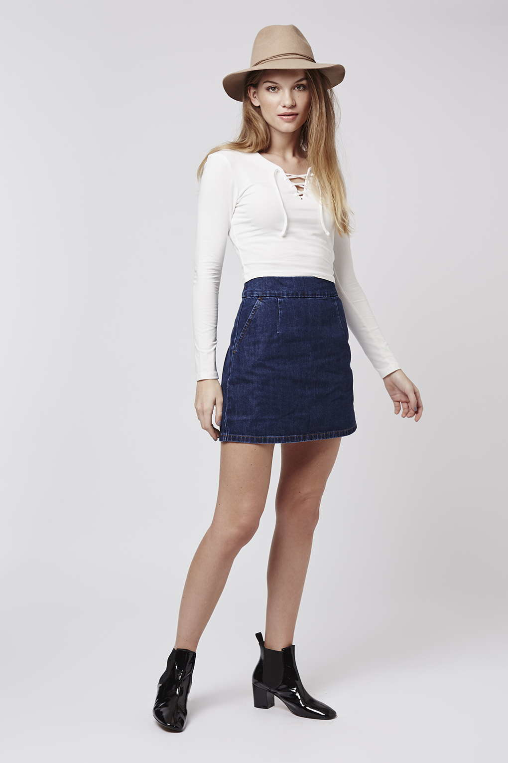 Topshop Moto Indigo Clean A-line Skirt in Blue | Lyst