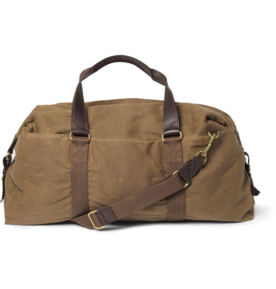 J.crew Abingdon Waxed Cotton-Canvas And Leather Holdall in ...