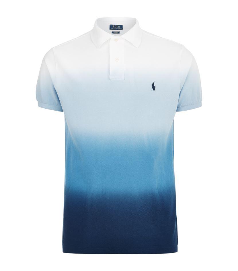 Shirt Blue Dip For Ralph Men Polo Custom Fit Dye Lauren Nmn0wv8