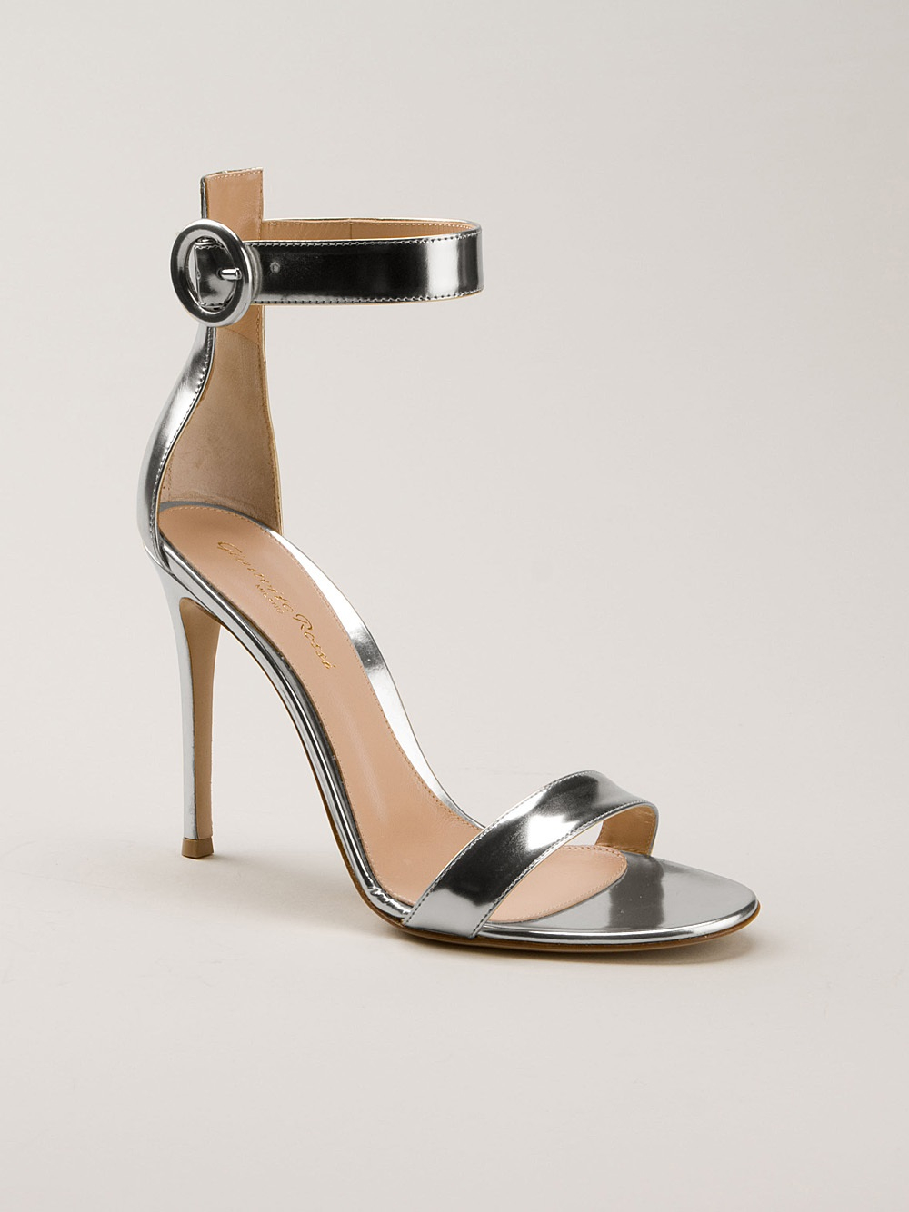 Gianvito Rossi Ankle Strap Sandals In Silver Metallic Lyst