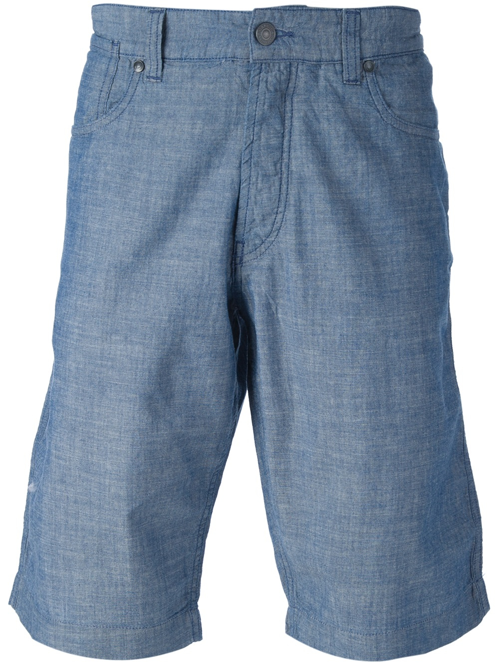 Armani jeans chambray bermuda shorts in blue for men lyst for Chambray jeans