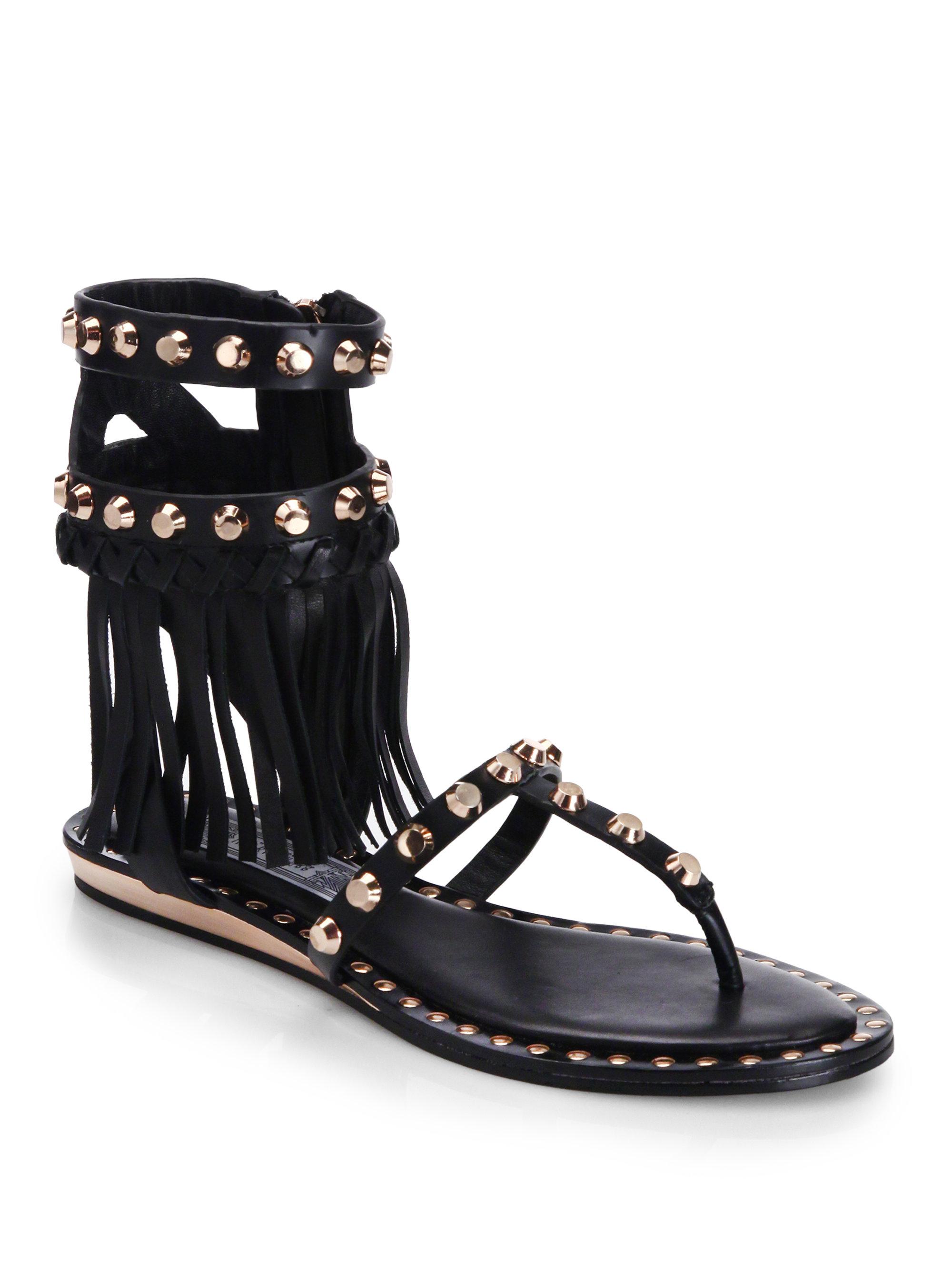 b26b6ce2bf80 Lyst - Ivy Kirzhner Barbados Studded Fringe Flat Leather Sandals in ...