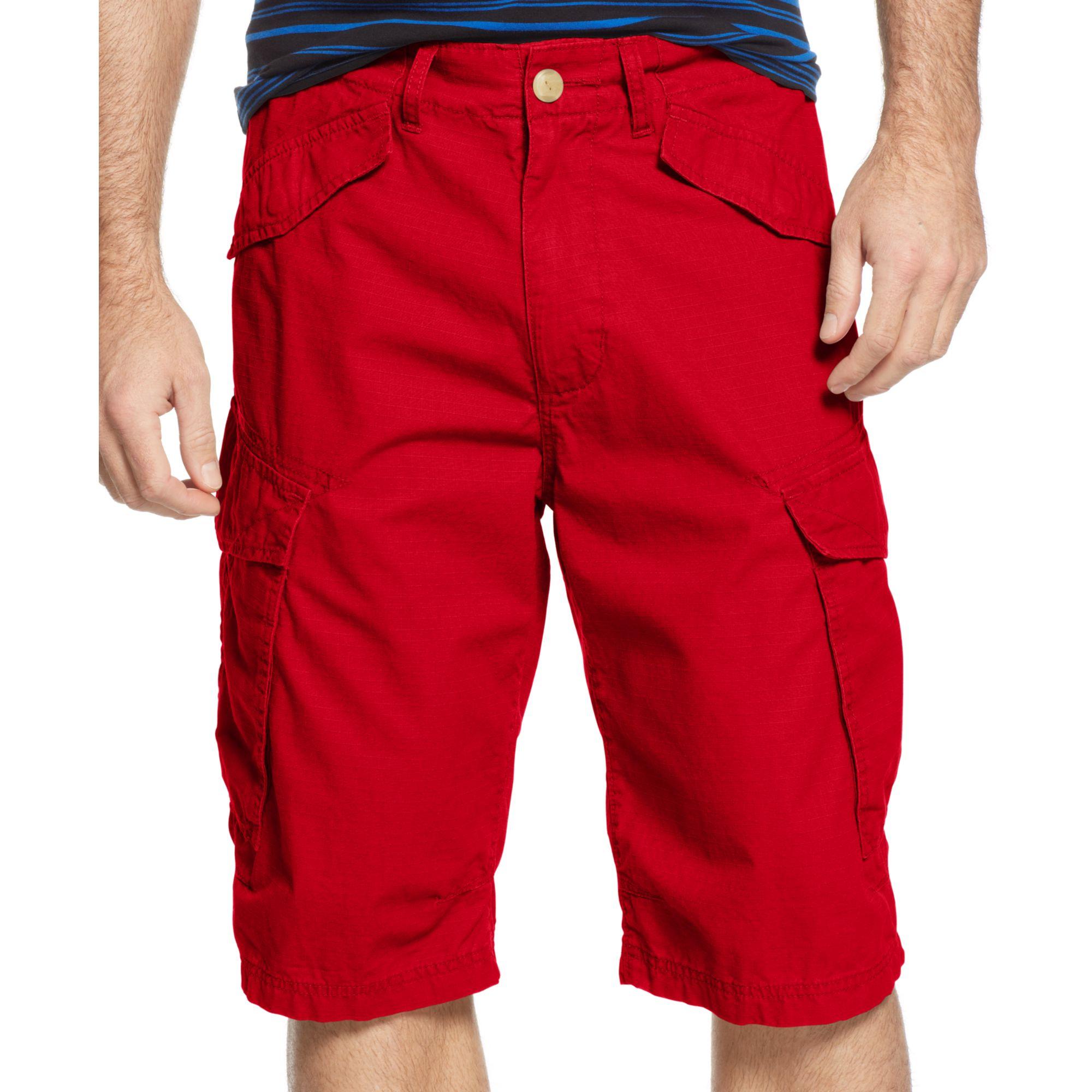 Sean john Ripstop Side Pocket Cargo Shorts in Red for Men | Lyst