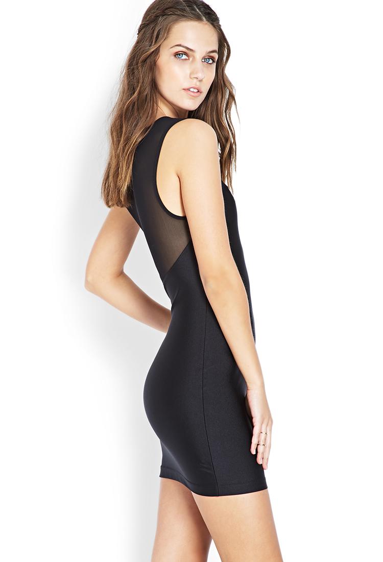 08b204c9e8 Lyst - Forever 21 Mesh-trimmed Bodycon Dress in Black