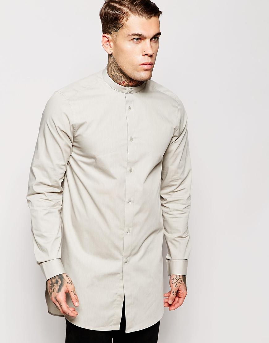 Asos shirt in super longline with grandad collar in gray Mens grandad collar shirt