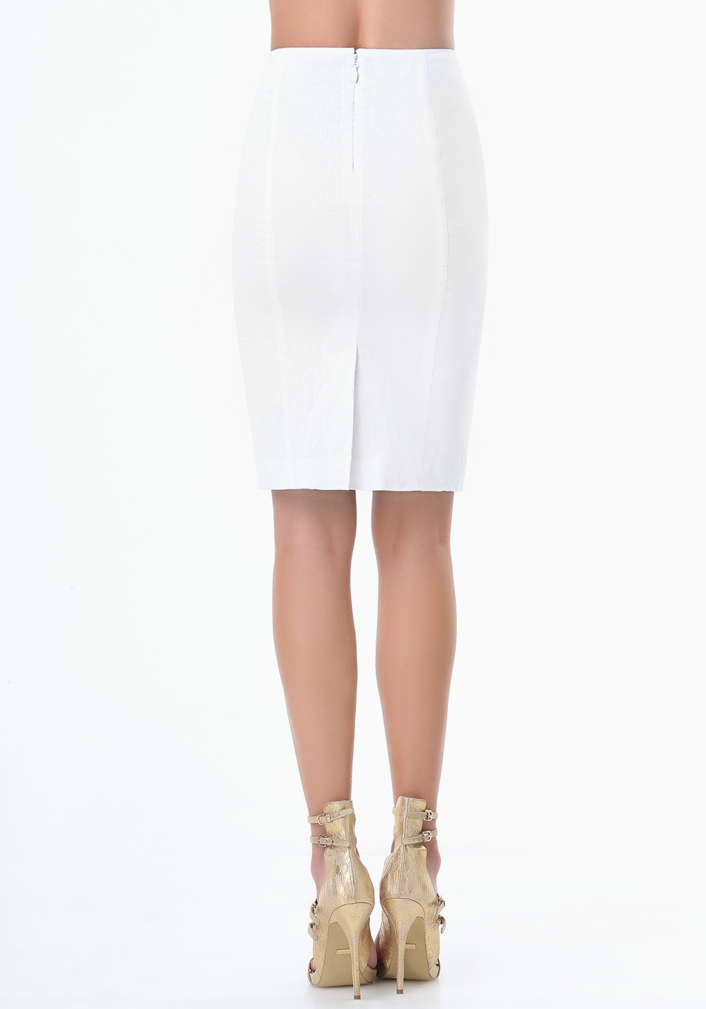 bebe pencil skirt in white lyst