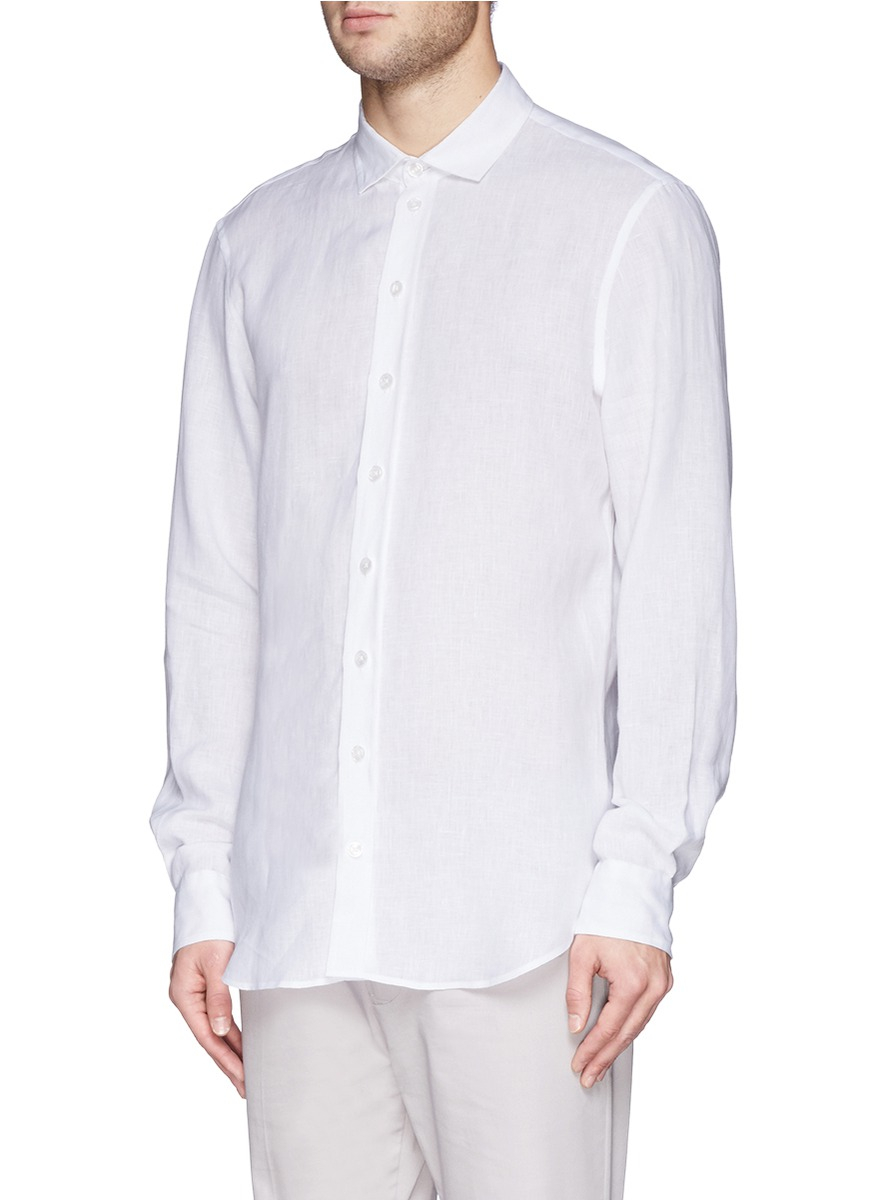 Lyst Armani French Collar Linen Shirt In White For Men